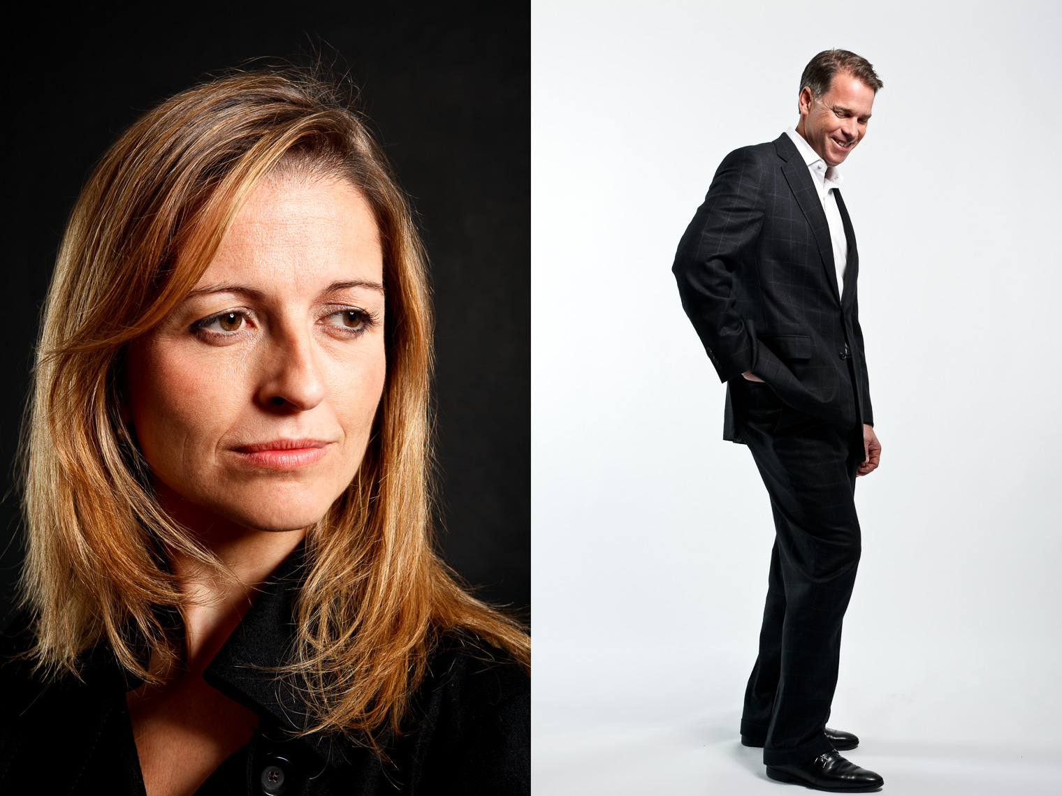 Elisabet De Los Pinos, Founder and CEO of Aura Biosciences  (left).   Mark Palmer, CEO of StreamBase Systems (right) for Time Magazine • Jason Grow Photography