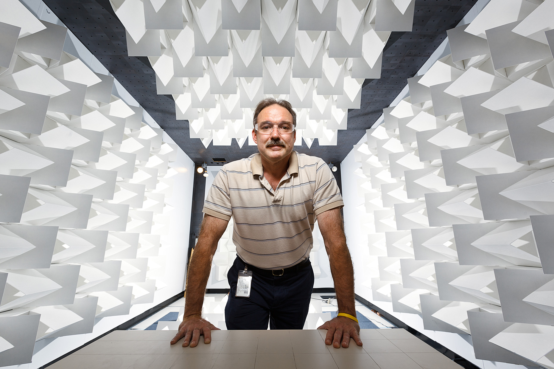 Charlie Martin, EMC engineer in an anechoic chamber, for UBM  • Jason Grow Photography